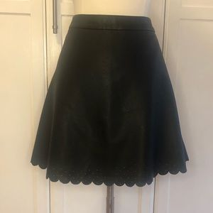 Faux Lather Scalloped Perforated Skirt